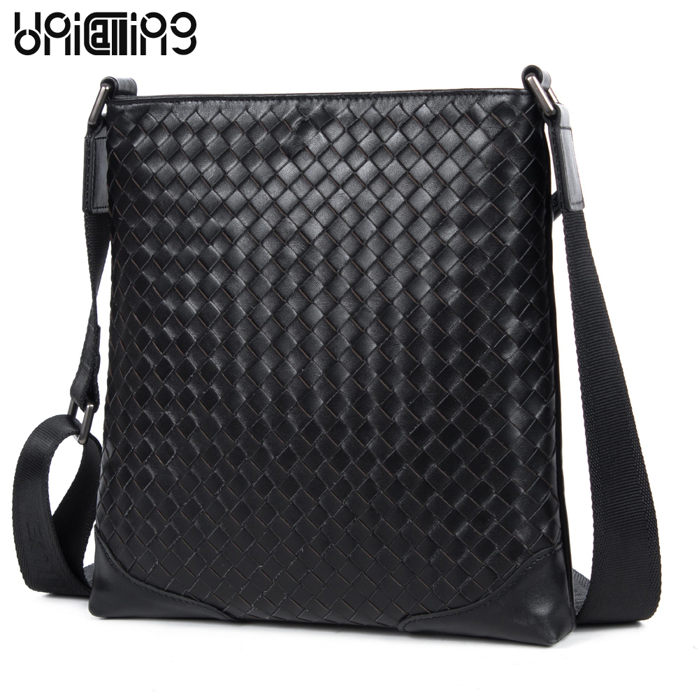 UniCalling fashion casual real leather man bag famous brand men high-end cowhide genuine leather handmade knitting messenger bag