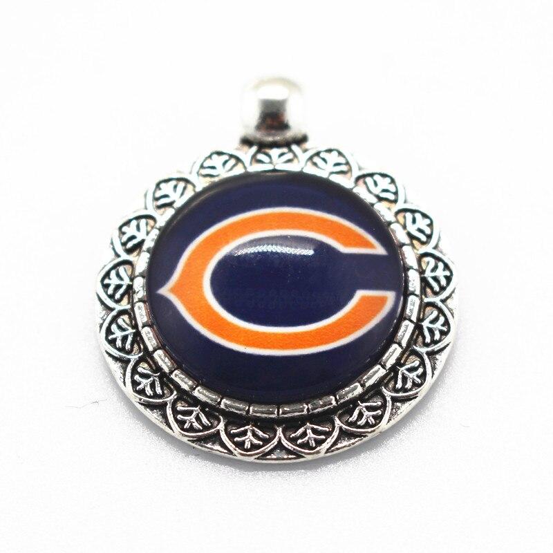 Hot selling 20pcs/lot Glass Chicago Bears Dangle Charms Sports Football Pendant Hanging Charms DIY Bracelet&bangles ...