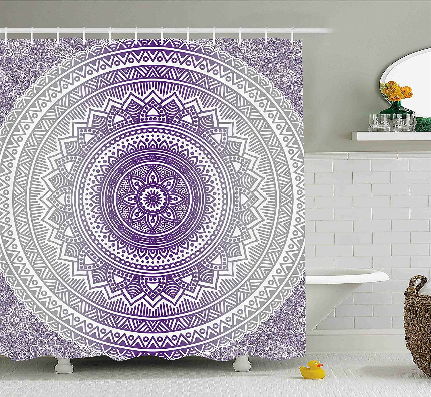 Grey And Purple Shower Curtain Eastern Traditional Of Cosmos Pattern Zen Boho Ombre Mandala Design Print Fabric Bathroom Set Shower Curtains Aliexpress