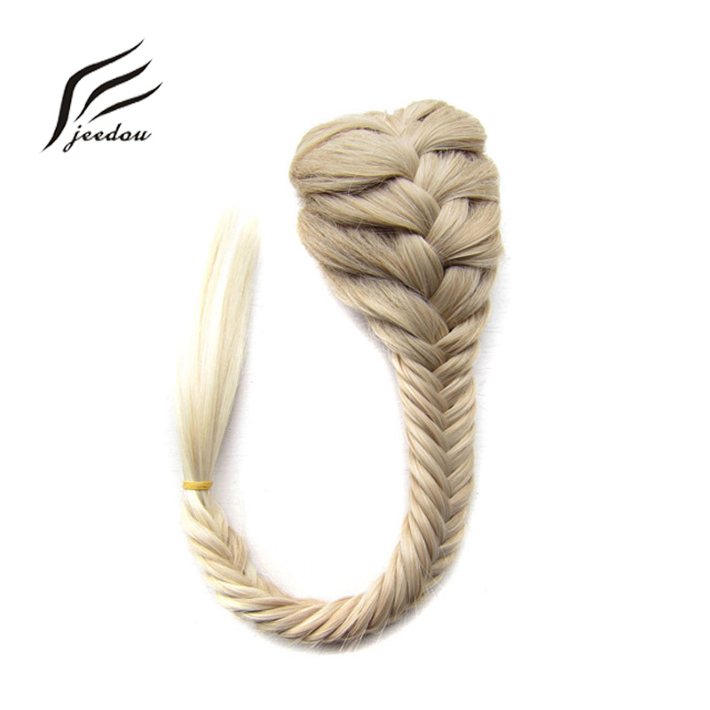 Jeedou Synthetic Hair Braided Plaited Fishtail Fishbone Drawstring Ponytail Extension Black Brwon Color Chignon Hairpiece