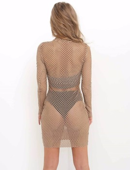 OMSJ 2018 New Women Sexy Fishnet Mesh Long Sleeve Knitted Crochet Dress Hollow Out Beach Tunics Swimsuit Dress See-through Wrap 3