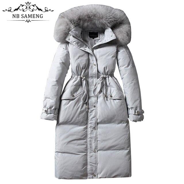 Women Parkas Winter Duck Down Jacket Fur Hooded Coats Long Slim Women Winter Jackets Down Coats Thick Doudoune Femme Invierno