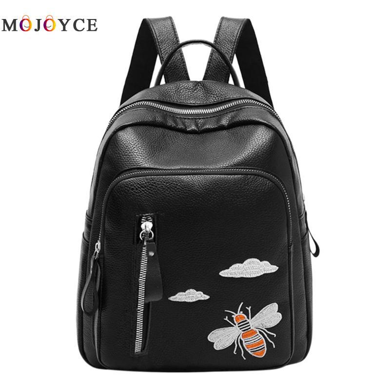 Cute Bee Embroidery Backpack Women Pu Leather Teenage Girls School Backpacks Funny Shoulder Female Mochila Feminina