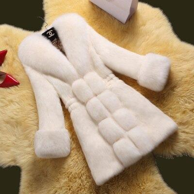 New Design Fashion 2015 Winter Women Faux Fox Mink Fur Coat Woman Luxury Medium Long Fake