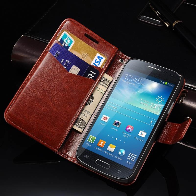 buy wallet leather case for samsung galaxy s4 mini i9190 coque flip phone bag. Black Bedroom Furniture Sets. Home Design Ideas