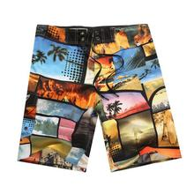 купить Summer Mens Vacation Print Sport Beach Swimwear Swim Fifth Pants Men Drawstring Swimming Surf Board Quick Dry Male Trunks Shorts по цене 666.94 рублей
