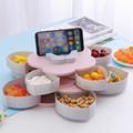 Креативная двухслойная коробка для закусок вращающийся цветок лепесток 10 сеток орехи коробка для хранения конфет Органайзер тарелка для с...