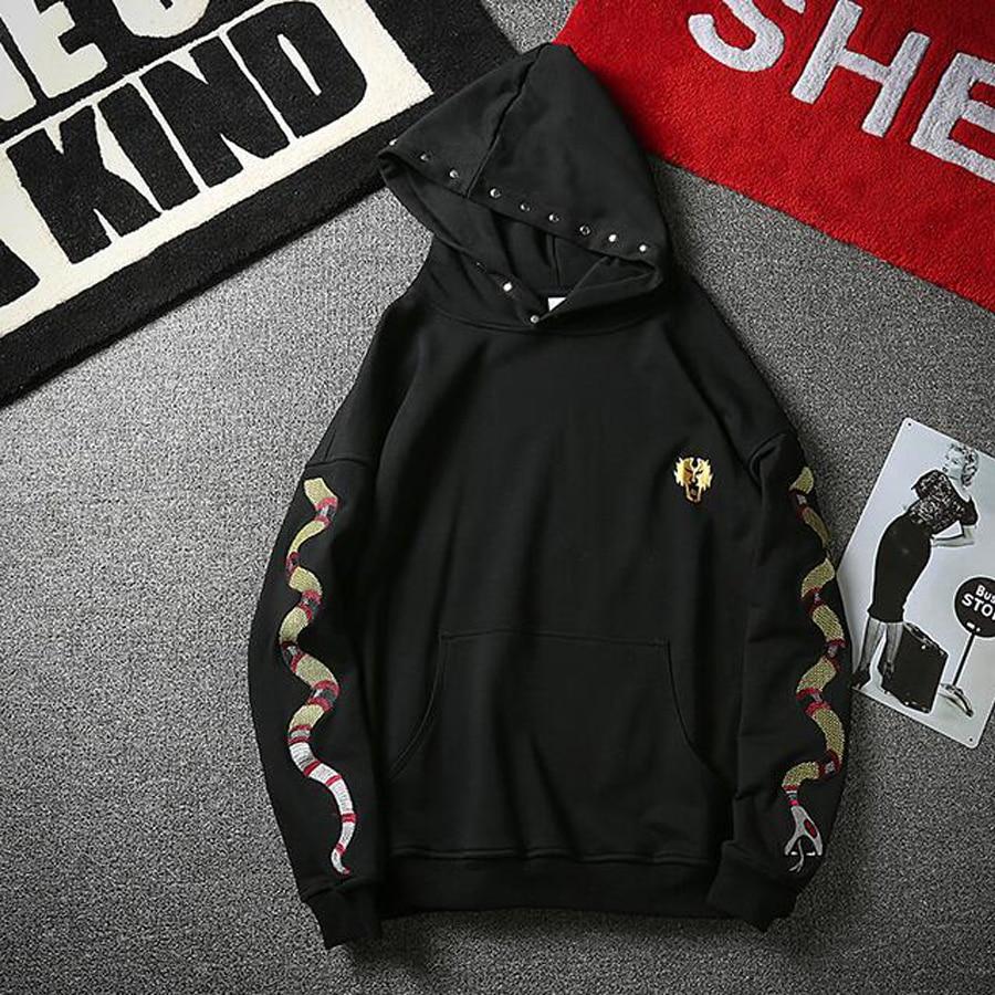 Punk Style Black Hoodies Men Lover's Fashion Design Snake Embroidered Gold Letter Print Hip Hop Jumper Sweatshirts with Hood
