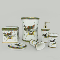 Six piece bathroom set ceramic Tissue box Dustbin set Soap Dispens Tooth holder Bathroom products Toilet articles