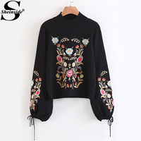 Sheinside Embroidery Women Sweater Black Women Sweaters And Pullovers Drawstring Lantern Sleeve Ladies Winter Knitted Sweater