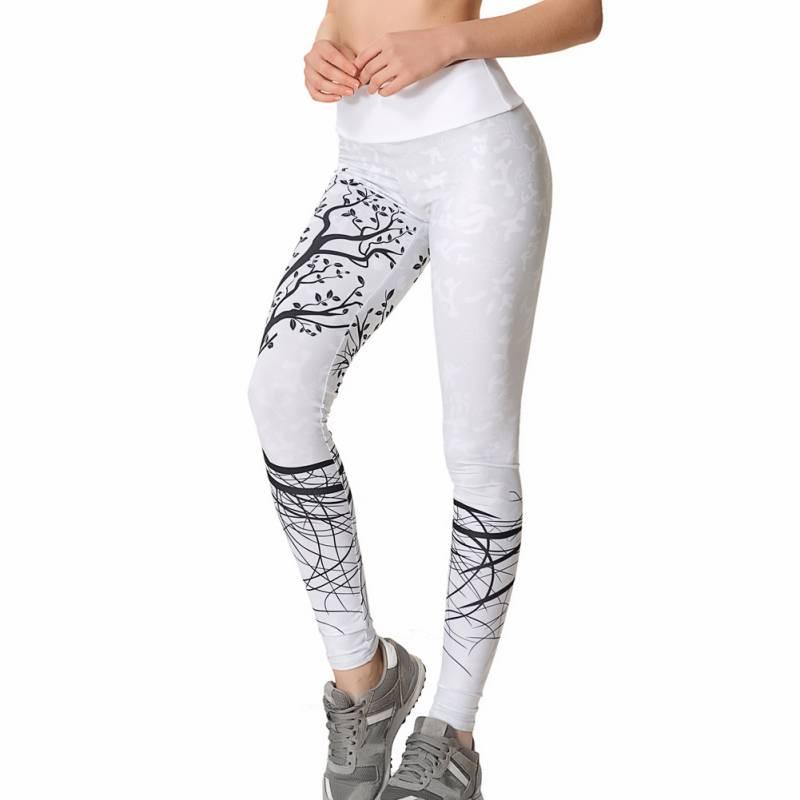 High Elastic Waist Push Up Fitness Sportwear Women Tree Pattern Leggings Printed Pants