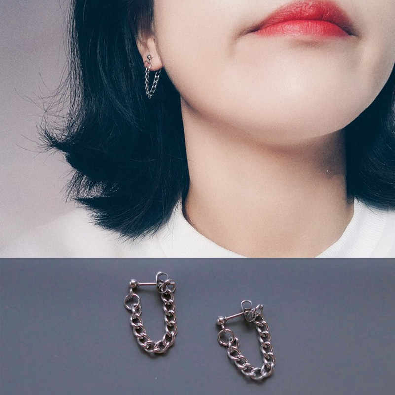 Korean Fashion Simple For Men And Women To Wear Punk Chain Temperament Earrings Round Drops