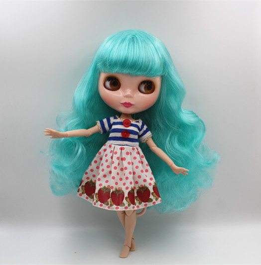 Blyth doll Sky blue, curly hair, naked doll, 19 joints, gift toys, you can change your hair. tetiana tikhovska paper doll