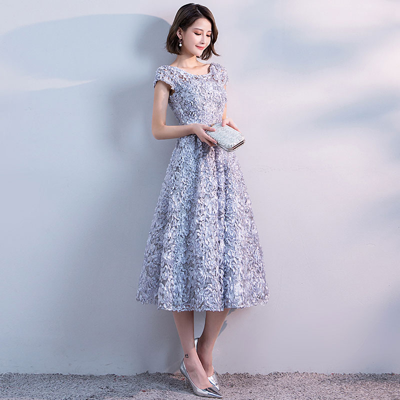 FADISTEE new arrival party prom dress Vestido de Festa scoop neck evening  party lace flowers sashes cap sleeves short style -in Prom Dresses from  Weddings ... a677fed34626