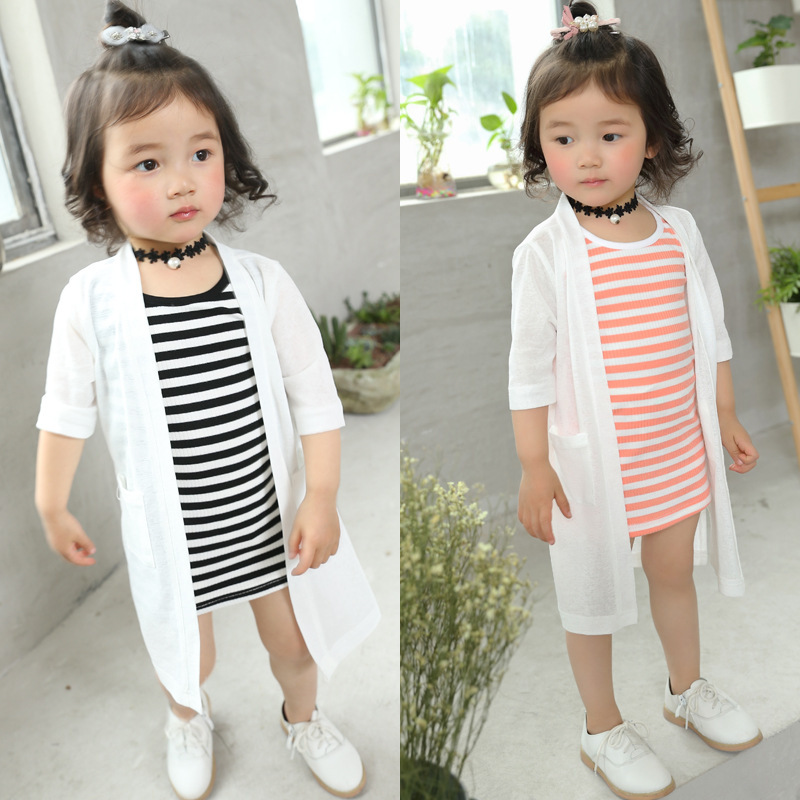 Spring Kids Long T-shirt and Prevent bask Coat Suit Girl Striped Dresses + Long Cardigan 2 PCS Lovely Baby Set 1-6 Years