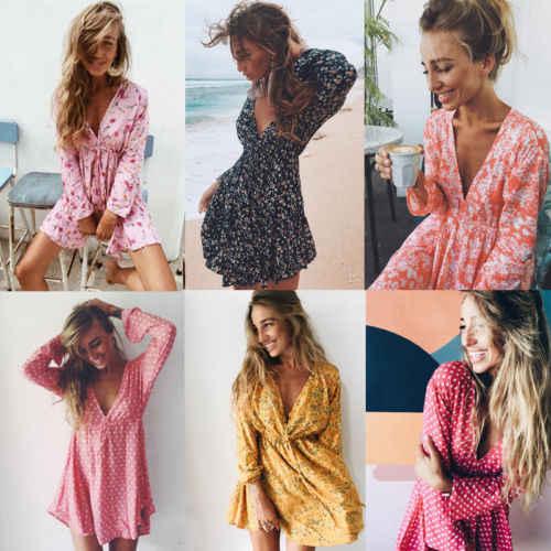 a7187c32dab 2018 стильное летнее женское повседневное Цветочное платье с длинными  рукавами и v-образным вырезом