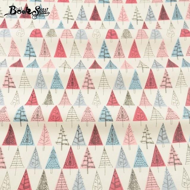 Booksew Blau Und Rot Bäume Design Weiß 100% Baumwoll twill Stoff ...