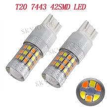 Toptan araba LED ışık T20 beyaz/Amber hiçbir Hyper flaş 7443 2835 42SMD LED cips beyaz sarı çift renk T20 dönüş sinyal ışıkları