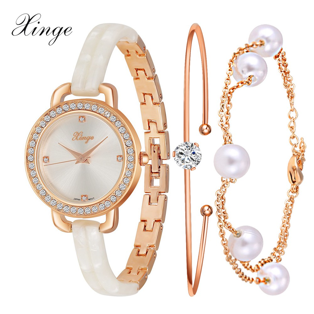 Xinge Luxury Watch Women Brand Fashion Gold Crystal Bracelet