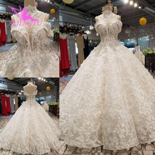 Aijingyu安いデザイナーのウェディングドレスチュールドレスシンプルな真珠の婚約インドクロップトップ長袖ガウンギリシャドレス