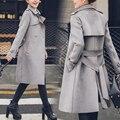 2016 Nova Outono Moda Feminina Camurça Casaco de Inverno Fêmea Magro Médio Longo Windbreaker Com Cinto
