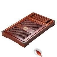 Solid wood tea tray home kung fu tea set Accessories tea table medium num drawer type tea sea simple water storage drainage tray