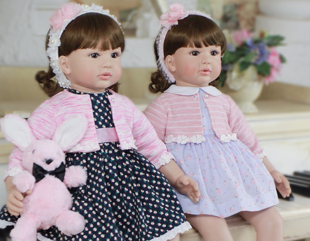 60cm Silicone Reborn Baby Doll Toys For Children 24inch Vinyl Toddler Princess Girls Babies Dolls Kids Birthday Gift Play House