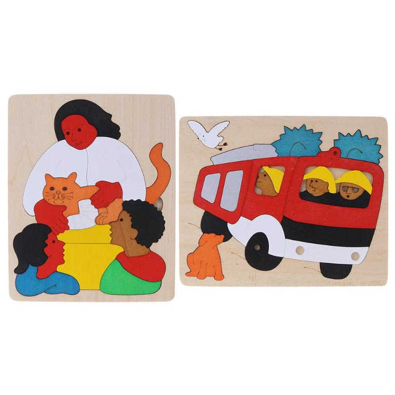 2 Styles 1Pcs Creative Car&People Multi-layer Wooden Puzzle Jigsaw Children Kids Educational Learning Toy Childrens Gift