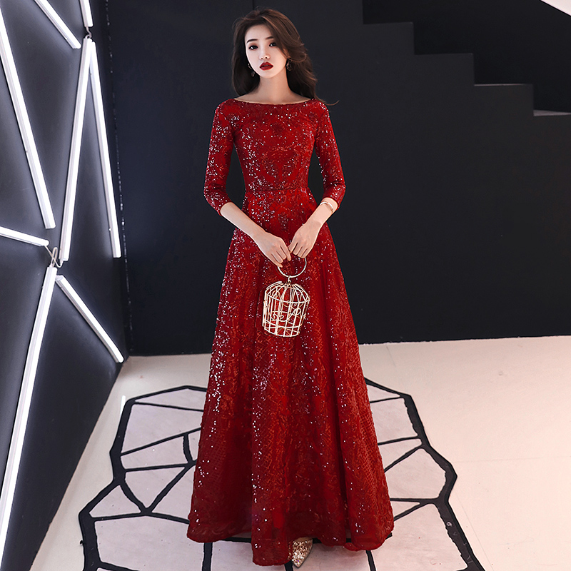 2019   Evening     Dress   Full Sequins Shining O-neck Half Sleeve Formal   Dresses   Women Vintage Wine Red Long Party Gown LF391