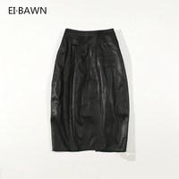2018 женские длинные юбки натуральная кожа черный высокая талия Уличная Повседневная облегающее платье сексуальные женские юбки натуральна