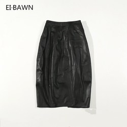 2019 Women Long Skirts Real Leather Black High Waist Streetwear Casual Package Hip Bodycon Sexy Female Skirts Genuine Leather