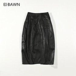 2019 faldas largas de mujer de cuero Real negro de alta cintura Streetwear paquete Casual de cadera ceñido al cuerpo faldas femeninas de cuero genuino