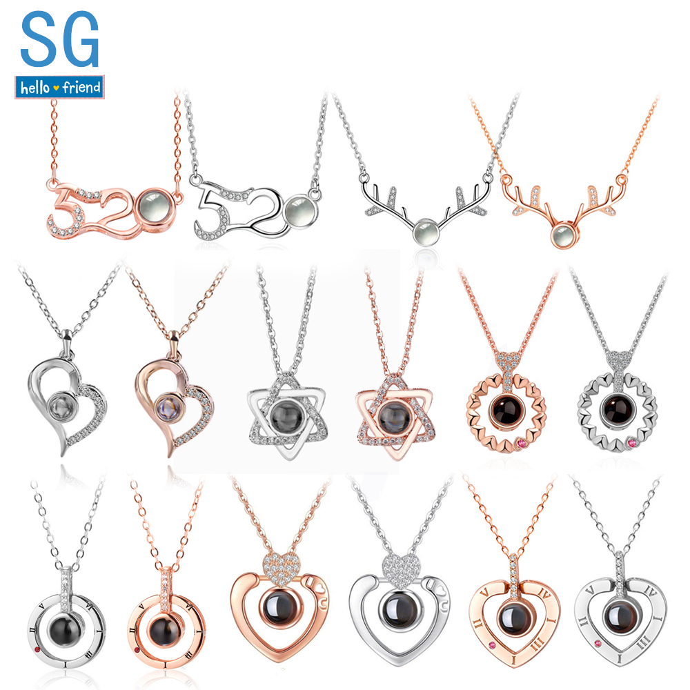 Cnebo Love Bracelet 100 Languages I Love You Bracelet Memory Projection Bracelet Valentines Day Jewelry Gift Heart Pendant Charm Bracelet Chain