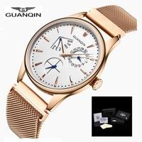 Men Watches 2017 GUANQIN Top Brand Quartz Watch Luxury Male Sport Waterproof Wristwatch Leather Strap Clock