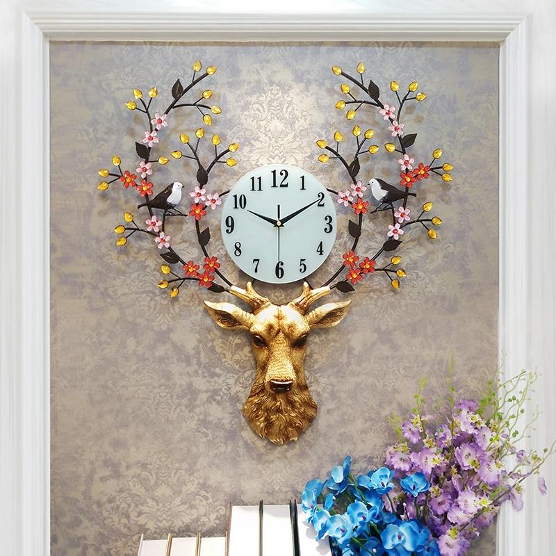 Pastoral Style Metal Deer Head Flower Large Clock Home Art Decoration Statue
