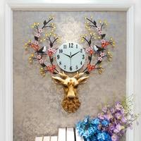 Pastoral Style Metal Deer Head Flower Large Clock Home Art Decoration Statue Crafts Needle Mute Quartz Wall Watch Clocks Gifts