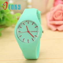 Excellent Quality Brand New Geneva Watches Women Sports Candy Colored Jelly Silicone Strap Leisure Watch font