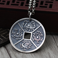 S990 Sterling Silver Vintage Pendant Silver money men and women four animal Amulet Pendant coins