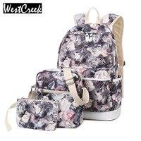 Winner Brand 3pcs Set Backpack Women Flower Printing Backpack Canvas Backbag School Bags For Teenagers Girls