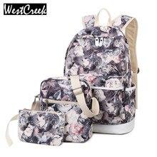 Брендовый комплект рюкзак Для женщин цветок печати рюкзак Водонепроницаемый холст backbag Школьные сумки для подростков Обувь для девочек рюкзак для ноутбука