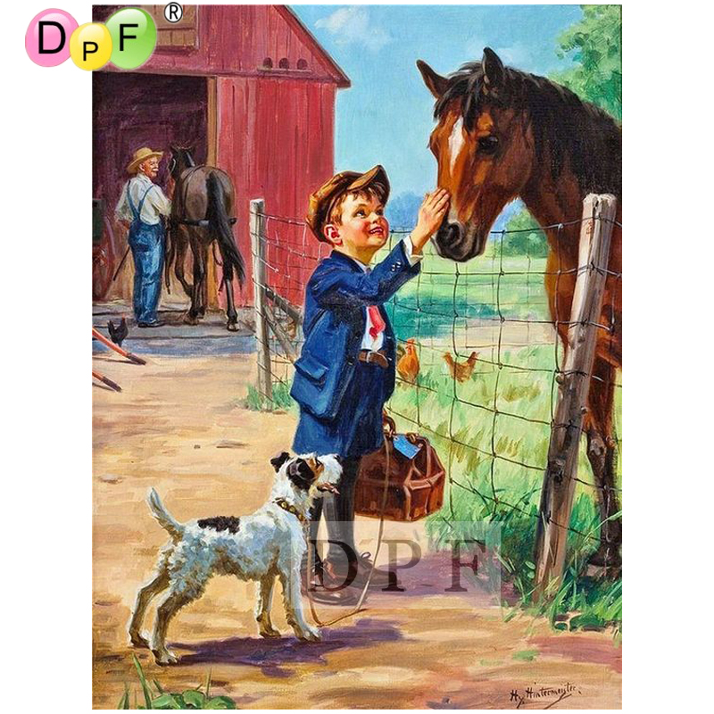 DPF diy diamond painting Toddler puppies and horses diamond embroidery mosaic kit full square Rhinestone crafts wall painting