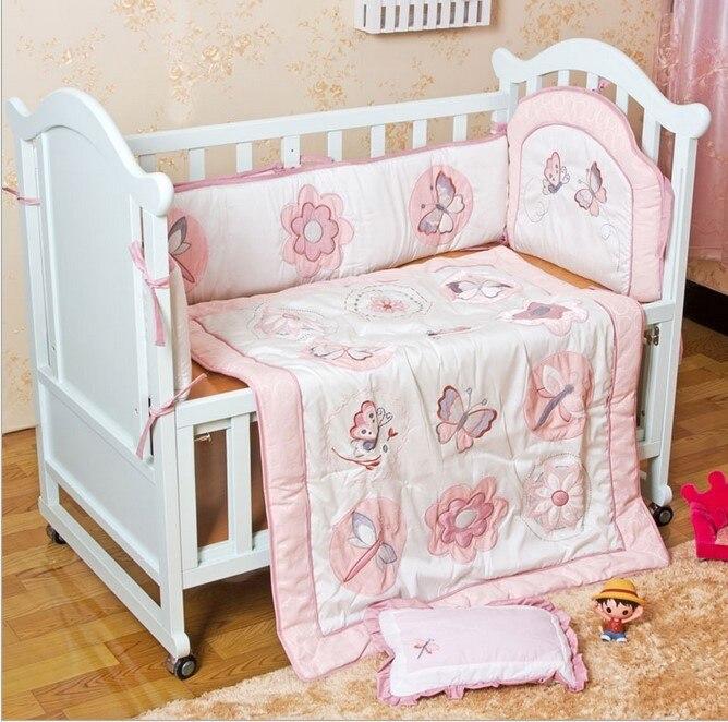 6 unids algodón bordado cuna Ropa de cama conjunto para Niñas Niños dibujos  animados juego de cama de bebé a41e944bd820