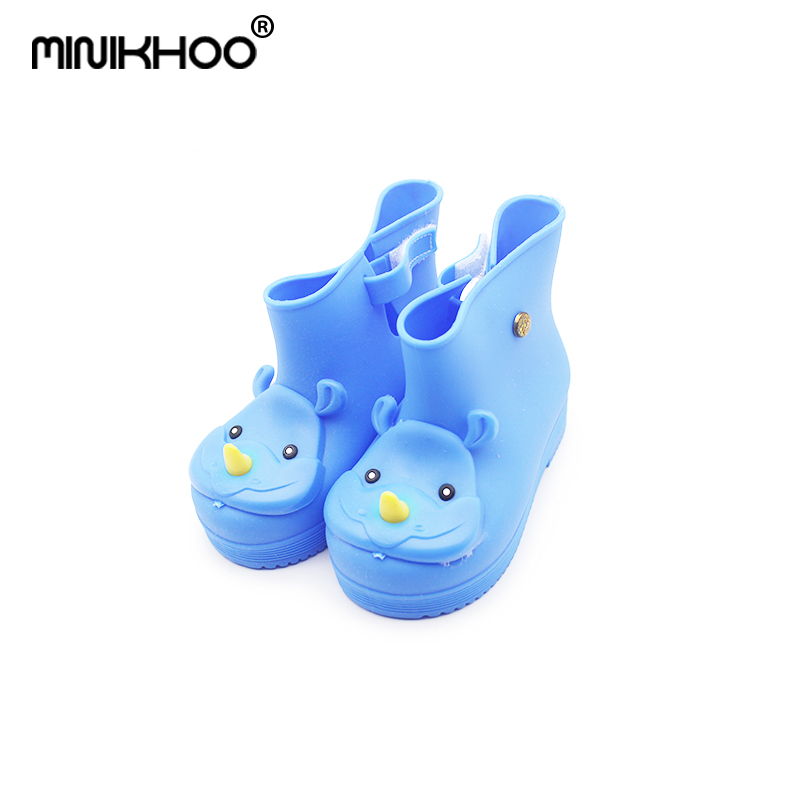 Mini Melissa Rhinoceros Head Rain Boots Girls Water Shoes 2018 Hot Sale Girls Boys Rain Boots Melissa Non-slip Boots 14cm-18cm