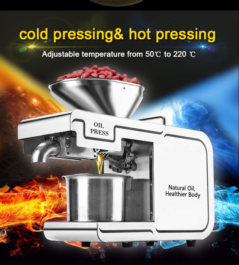 220VHeat and Cold home oil press machine pinenut, cocoa soy bean olive oil press machine high oil extraction rate