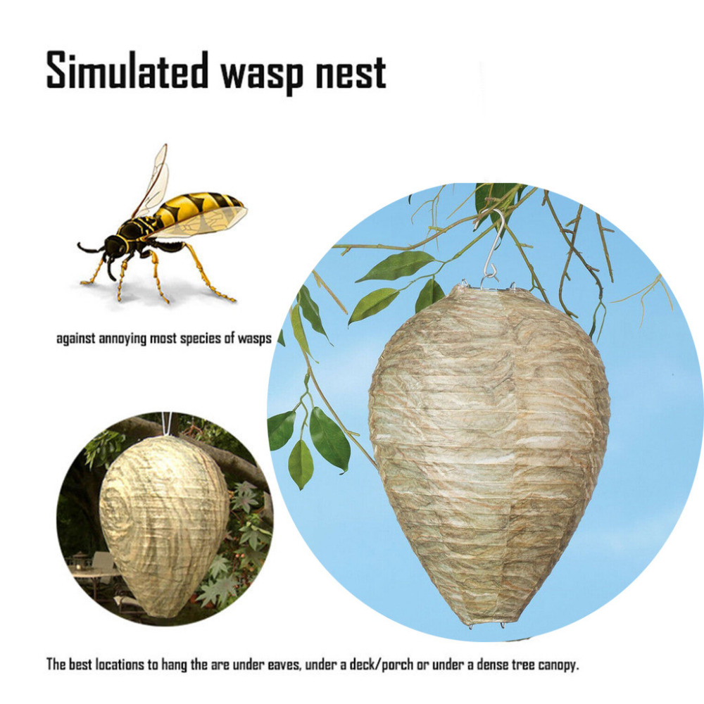 Flying Hanging Wasp Bee TrapWasp Deterrent Yellowjackets Bee Hornets Fake Wasp Nest Simulated Deterrent Apr#20