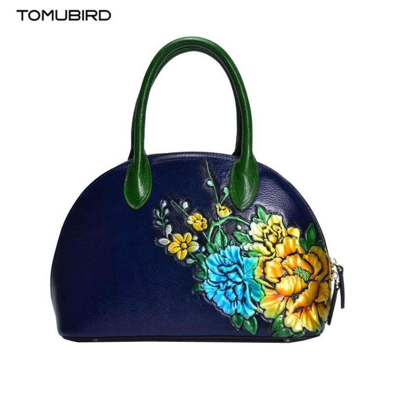 Tomubird brand handbag 2018 new top layer cowhide handbag Embossed versatile hand bag femaleTomubird brand handbag 2018 new top layer cowhide handbag Embossed versatile hand bag female