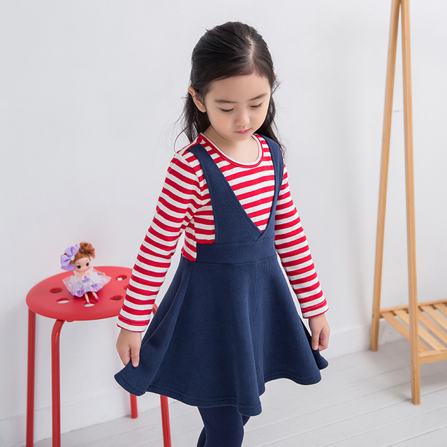 adb446d3a Girls spring autumn cotton dresss Design Stripe dress Children clothes for  2 3 4 5 6 7 8 10 year old Young Girls school clothes