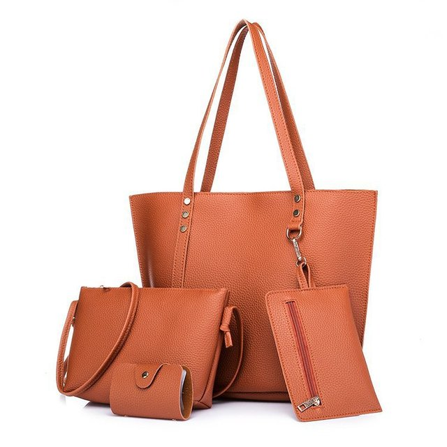 1cf7ff84bb3a 4pcs Women Handbags Set Shoulder Messenger Bag Soft Leather Crossbody Bags  For Women Female Casual Toto 5Colors