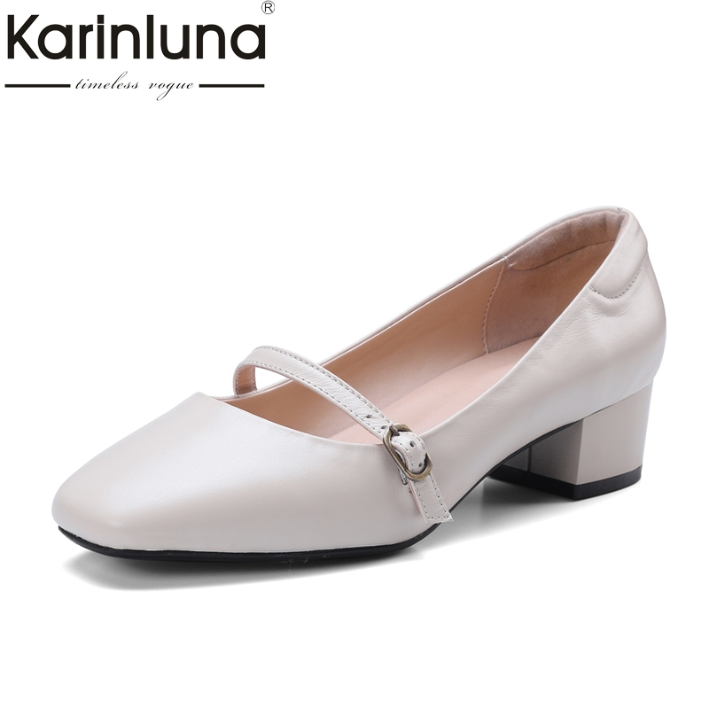 mary jane shoes casual shoes solid square spring autumn buckle shallow flats women shoes ladies leather med heels brown shoes KarinLuna 2018 Spring Autumn Genuine Leather Large Size 34-42 Square Toe Woman Mary Jane Pumps Med Square Heels Women Shoes