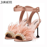 Gladiator satin sandals women thin high heels hairy feather crystal embellished 2018 rhinestone beach shoes sandalia feminina